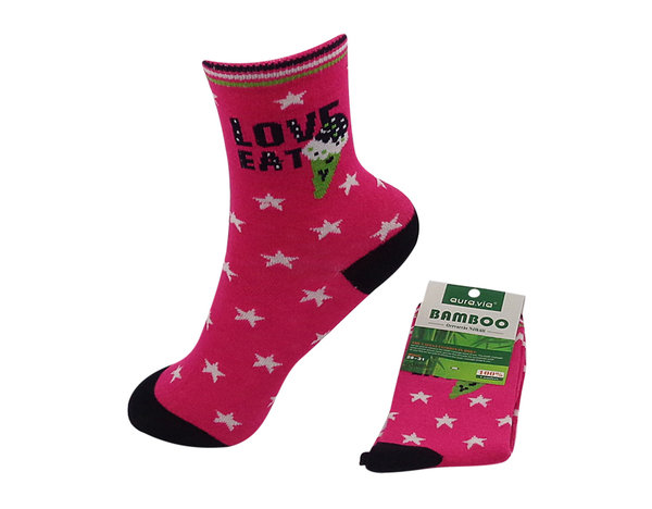 Bambus Kinder Socken, Love Star in pink, Gr.28/31, 32/35, antibakteriell