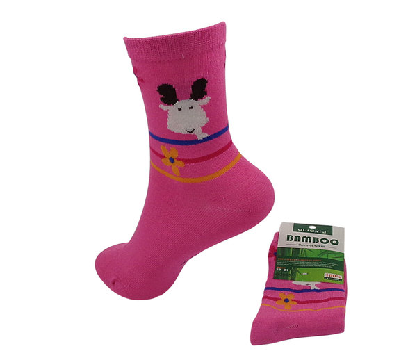 Bambus Kinder Socken, Elch in pink, Gr 28/31, 32/35, cool, antibakteriell