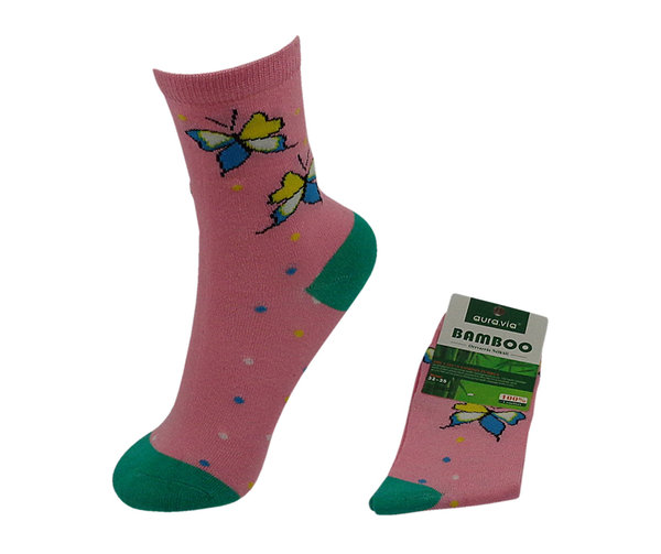 Bambus Kinder Socken, Butterfly, Gr. 28/31, 32/35, cool, antibakteriell