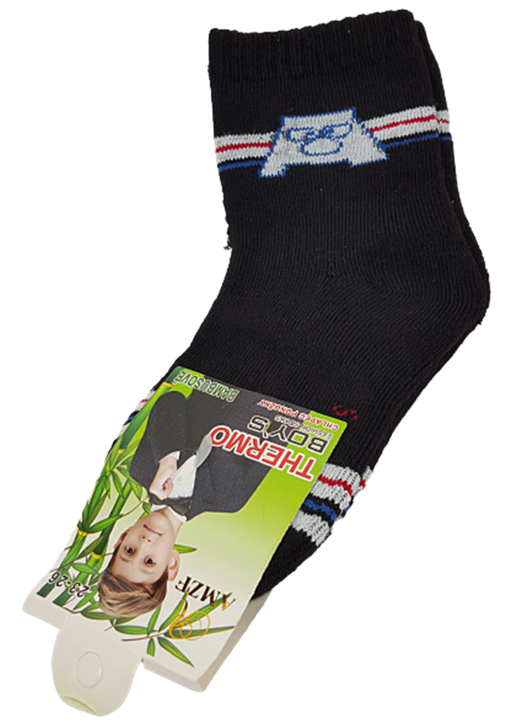 Bambus THERMO Kinder Socken, Gr.23/26, 27/30, Monster- schwarz
